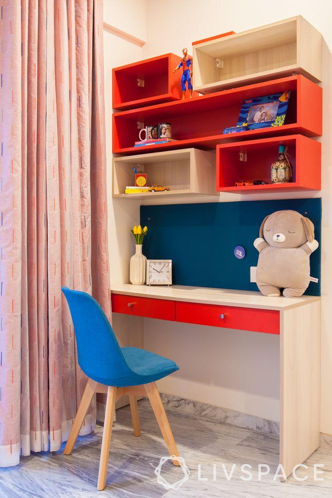 Kids bedroom design-red modular study unit-son's bedroom
