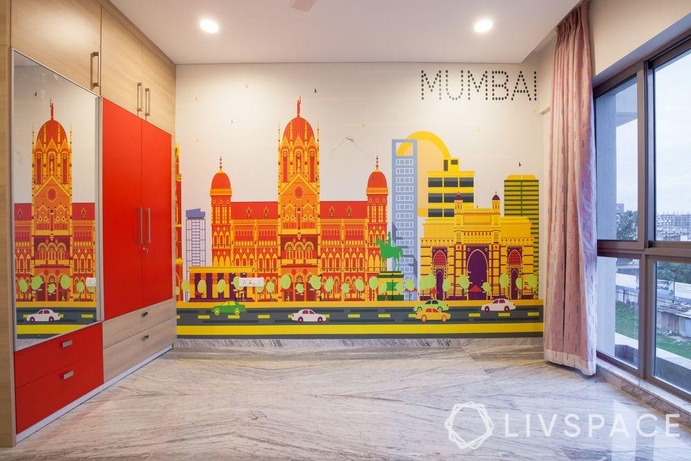 Kids bedroom design-mumbai skyline wallpaper