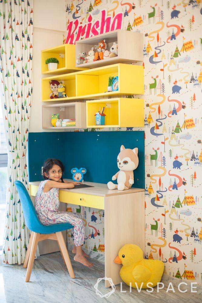 Kids bedroom design-yellow study unit
