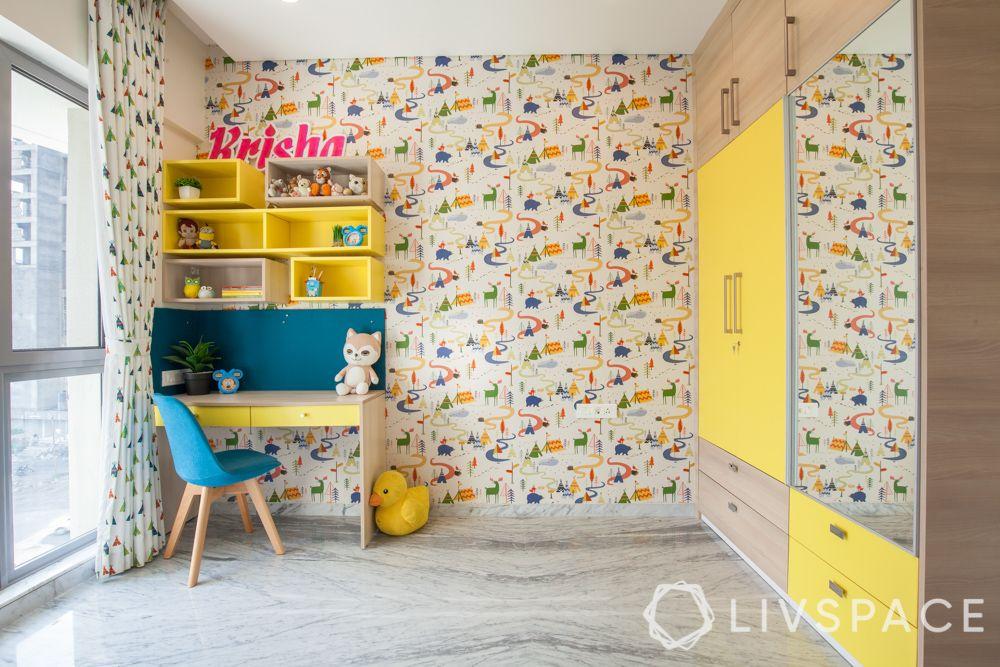 Kids bedroom design-yellow study unit-wardrobe