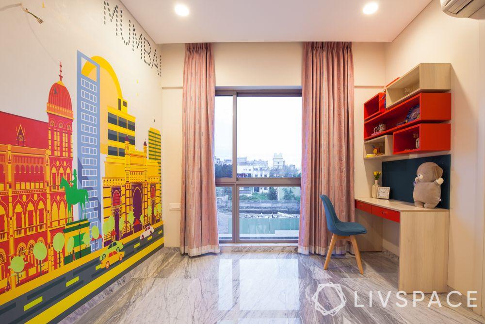 Kids bedroom design-mumbai skyline wallpaper-study unit