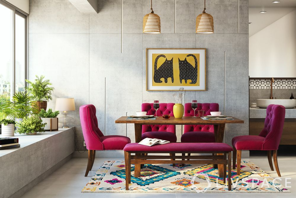 shruti-haasan-dining-room-pink-chairs-concrete-walls