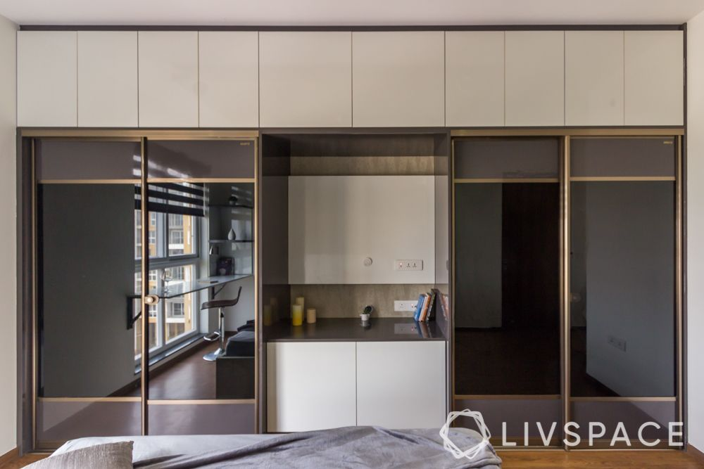 types of wardrobe finishes-veneer-tinted glass-laminate