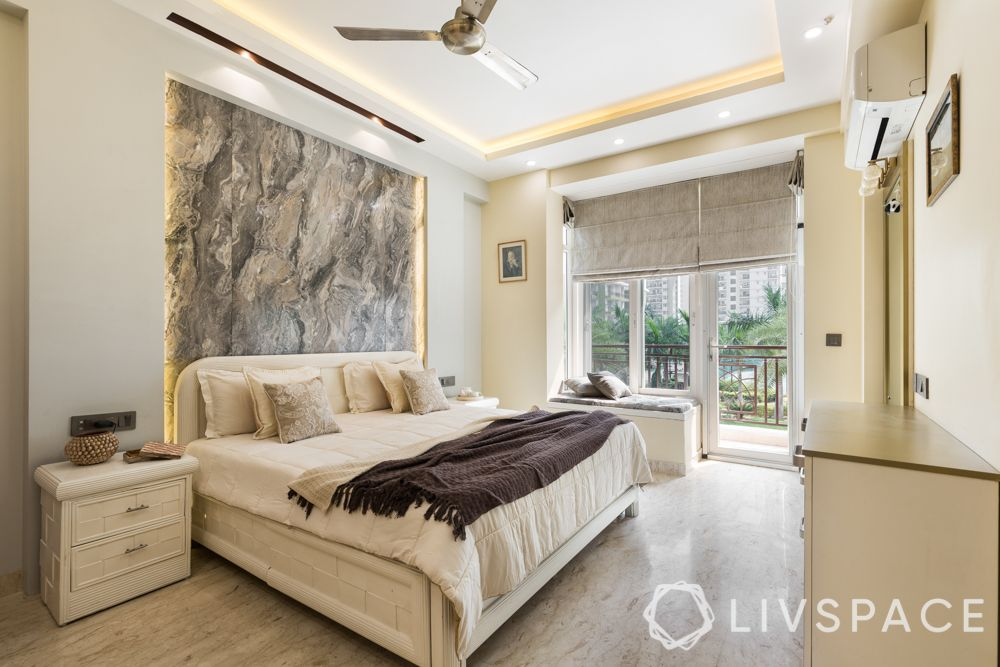 bedroom layout-marble feature wall-bay-seating-balcony-side table