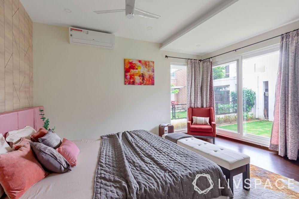 bedroom layout-window seating-bedroom bench-curtains-pink headboard