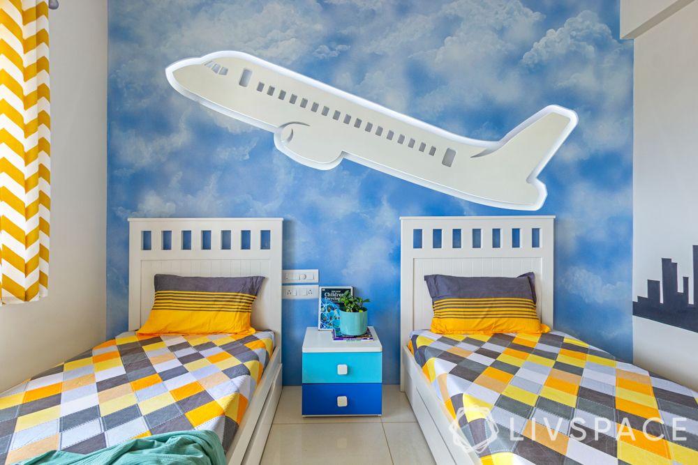 2bhk design-kids room-aeroplane mural-lighting ideas