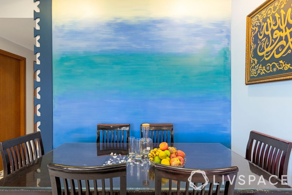 dining room-accent wall painting