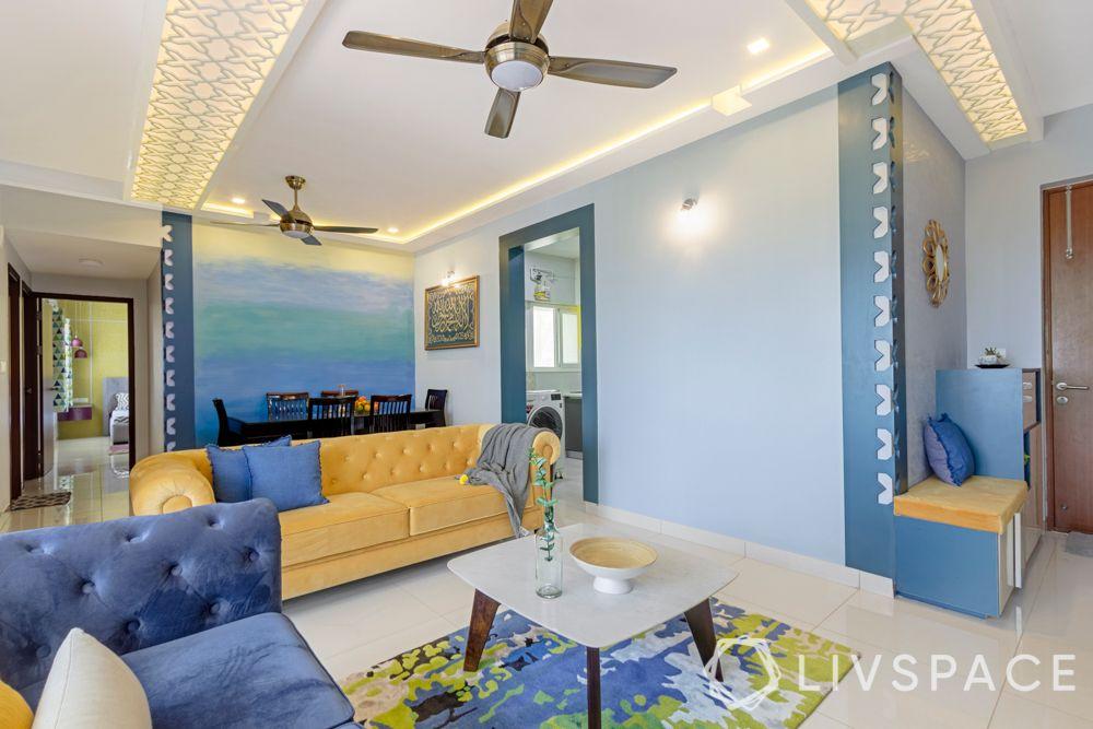 dining room-false ceiling design-suede sofa-jaali