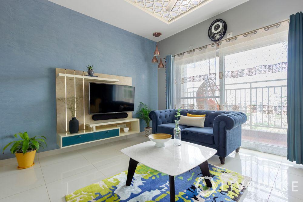 living room-false ceiling design-balcony-suede sofa-tv unit