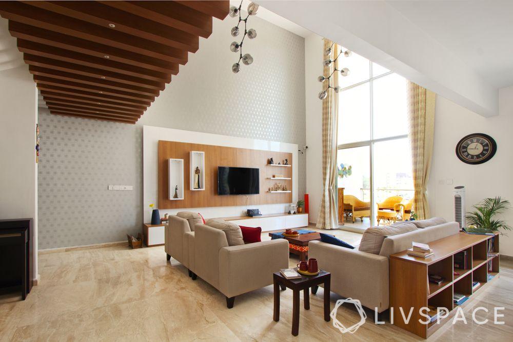 villa interior-wooden rafters for ceiling-wooden flooring design