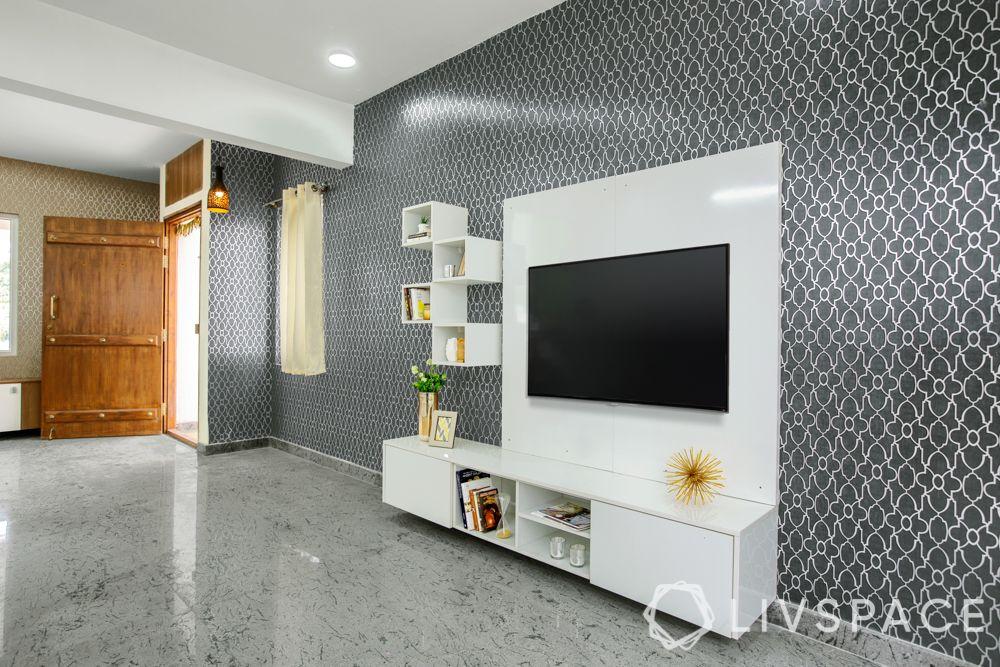 villa interior-grey wallpaper-white tv unit