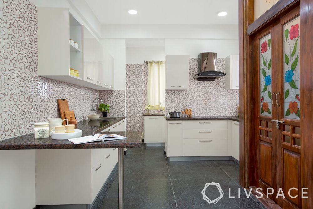 villa interior-minimal kitchen-floral kitchen tiles