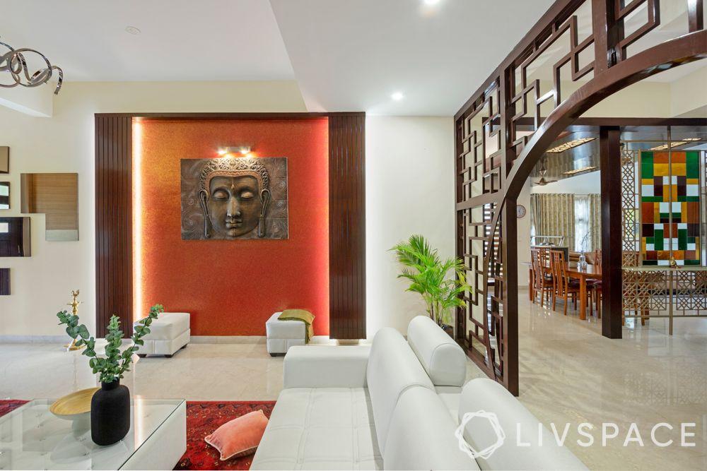 villa interior-orange wall ideas-buddha wall art ideas