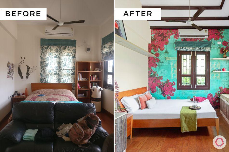 villa interior-before after renovation-floral wallpaper designs