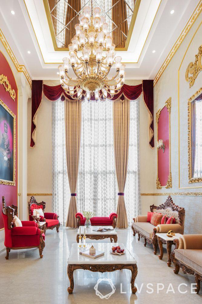 villa interior-red wallpaper ideas-indian haveli decor