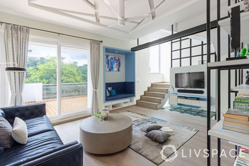villa design-blue couch design-warehouse rack design