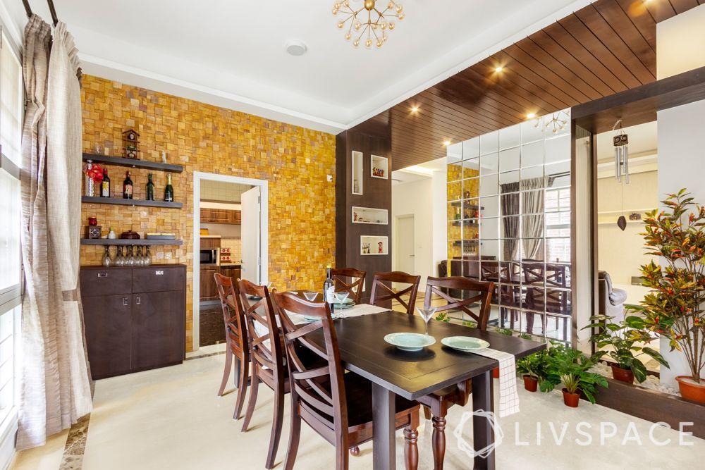 villa design-wooden frame designs-mirror partition designs