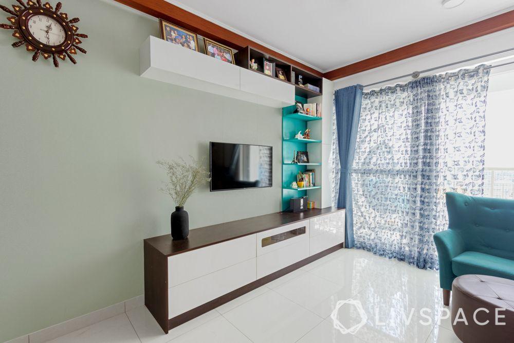 3 bhk interior-blue tv unit-pu finish
