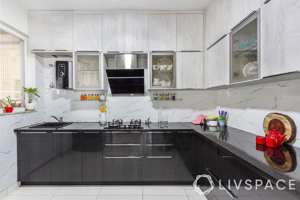 3 bhk interior-grey and white kitchen-membrane kitchen