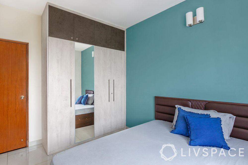 3 bhk flat interior images-mirror on wardrobe-membrane wardrobe
