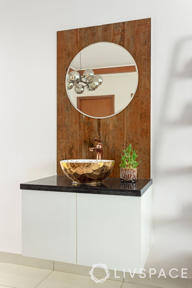 3 bhk flat interior images-copper basin designs-floating storage unit