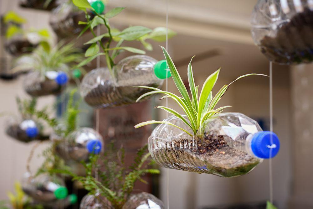 diy ideas for the home-plastic bottle-vertical garden
