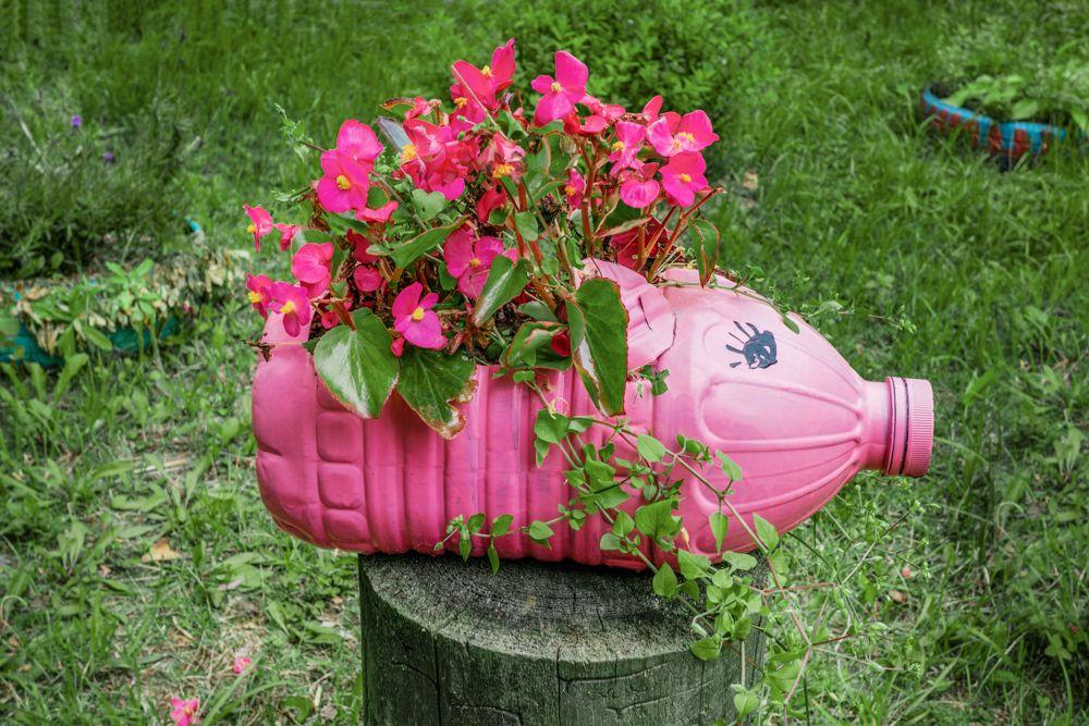 diy plant pots-plastic bottle