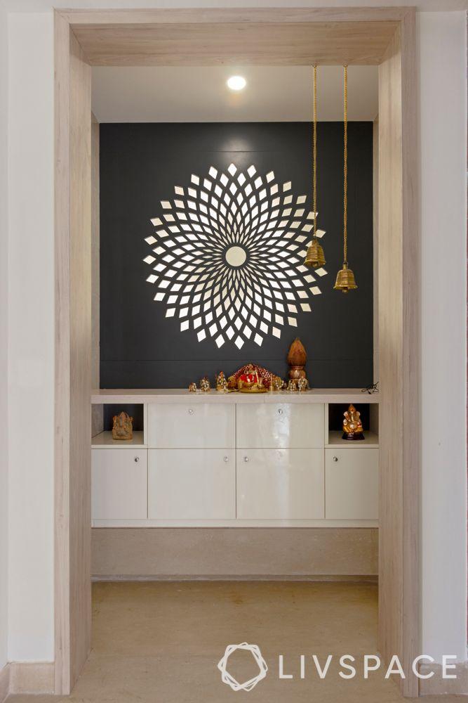 new mandir design-mdf jali cut-backlighting-bells