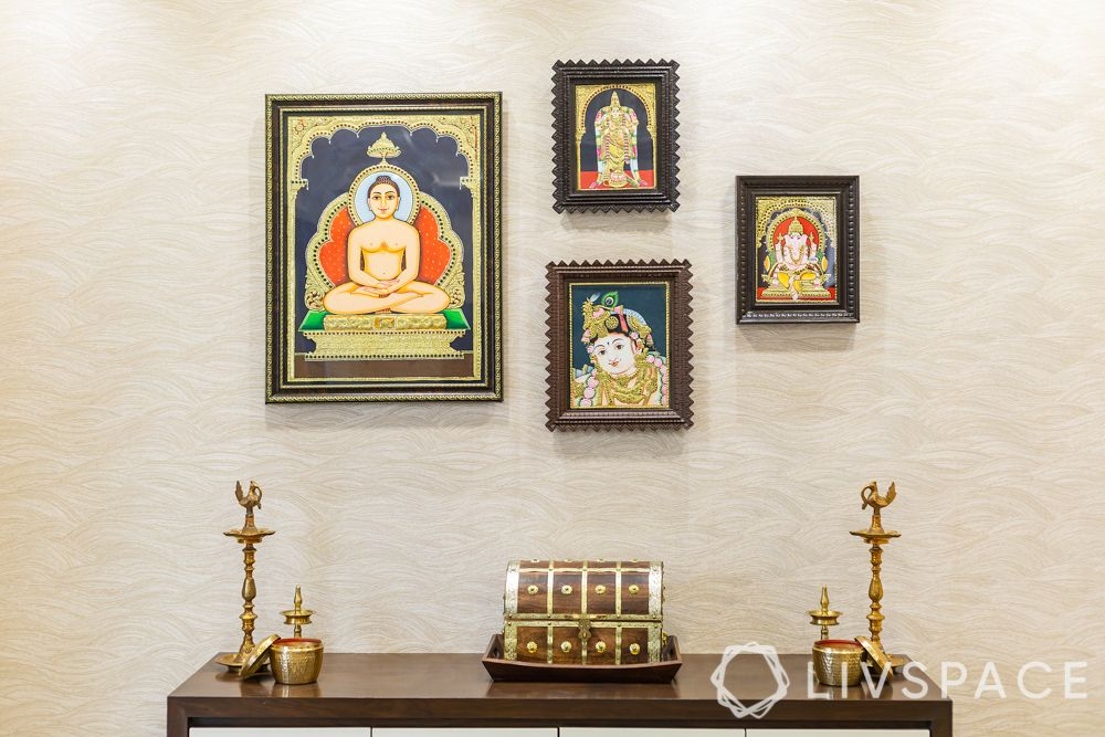 new mandir design-frames-lamps-pooja wall