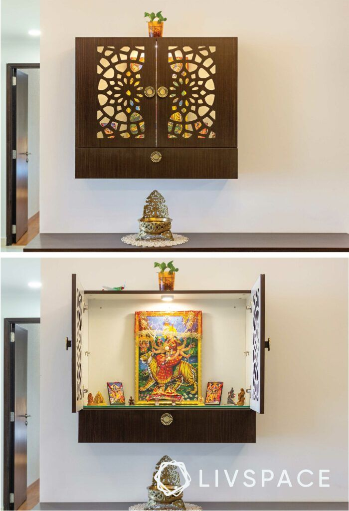 new mandir design-pooja wall-mount-small pooja unit