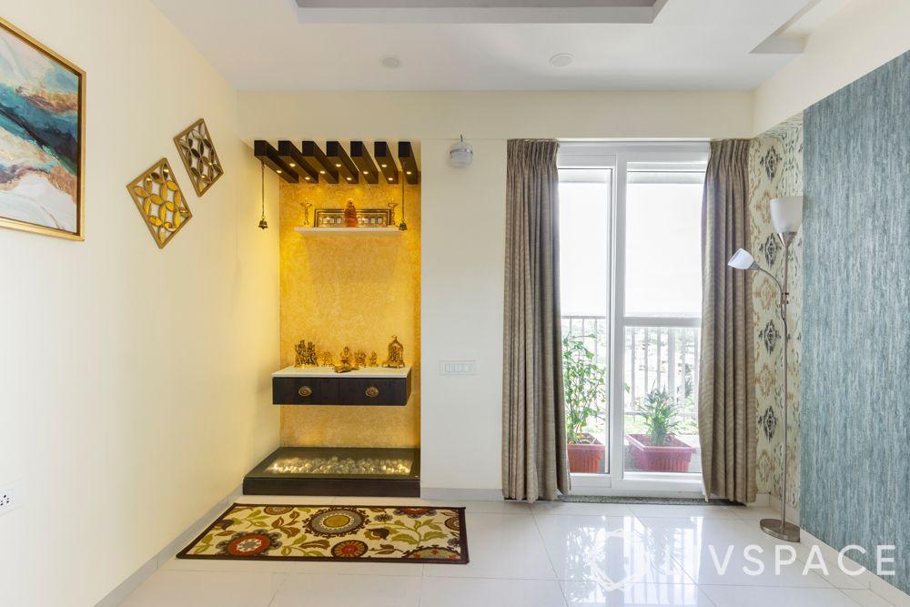 yellow wallpaper-pooja unit in wall-spotlights