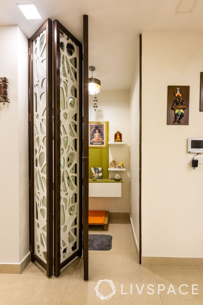 folding doors-pooja room-lighting-jali door