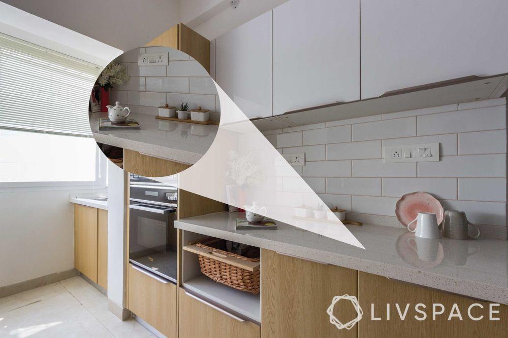 modular kitchen images-quartz countertop-white and wooden kitchen