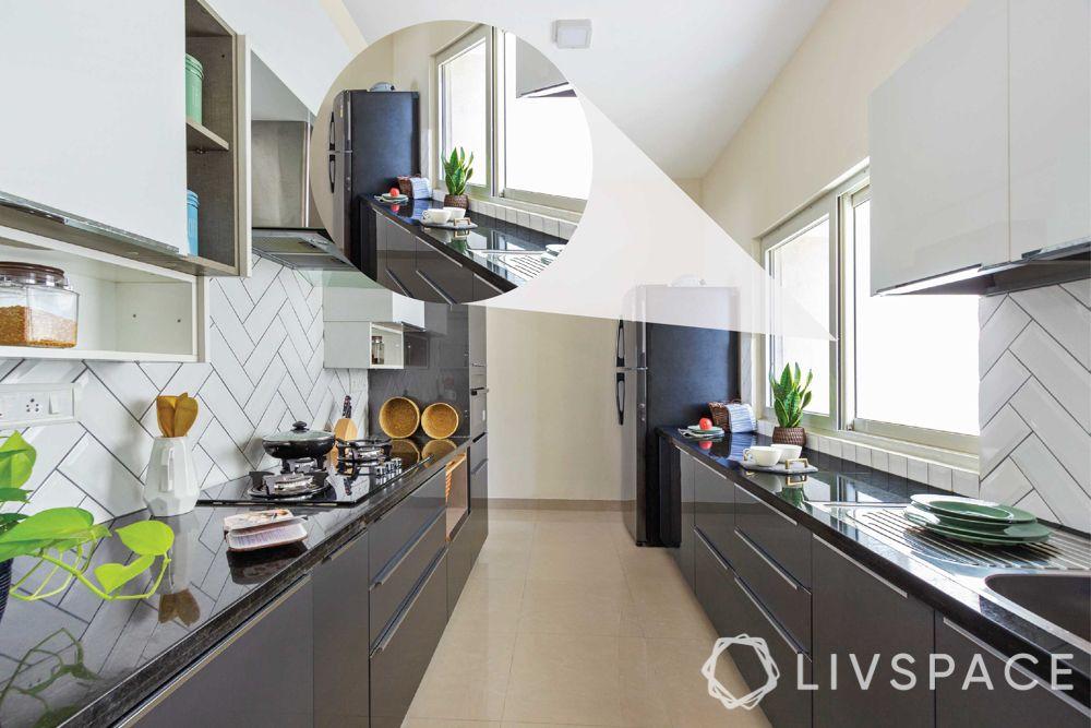 modular kitchen images-two toned modular kitchen-white and grey kitchen