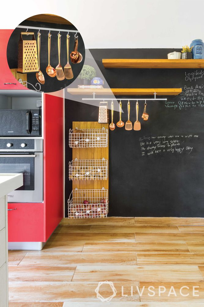 indian kitchen-chalkboard wall-tall cabinet in kitchen