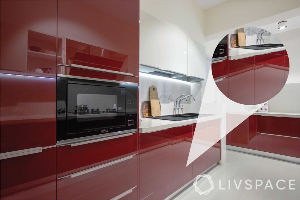 indian kitchen-red kitchen-acrylic kitchen cabinets