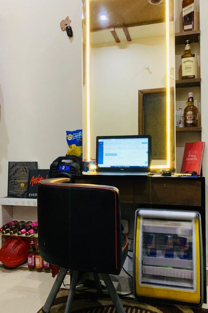 home office design-study unit with mirror-cooler-snacks-shelves