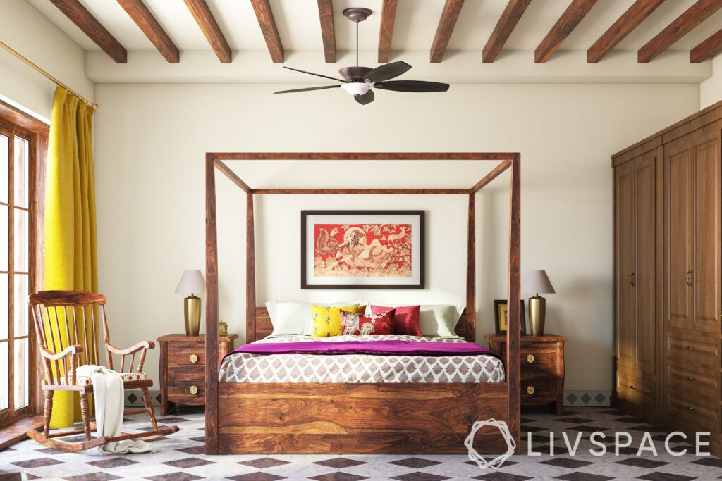 chettinad house-four poster bed-wooden furniture-rocking chair-chessboard tiles-wooden rafters