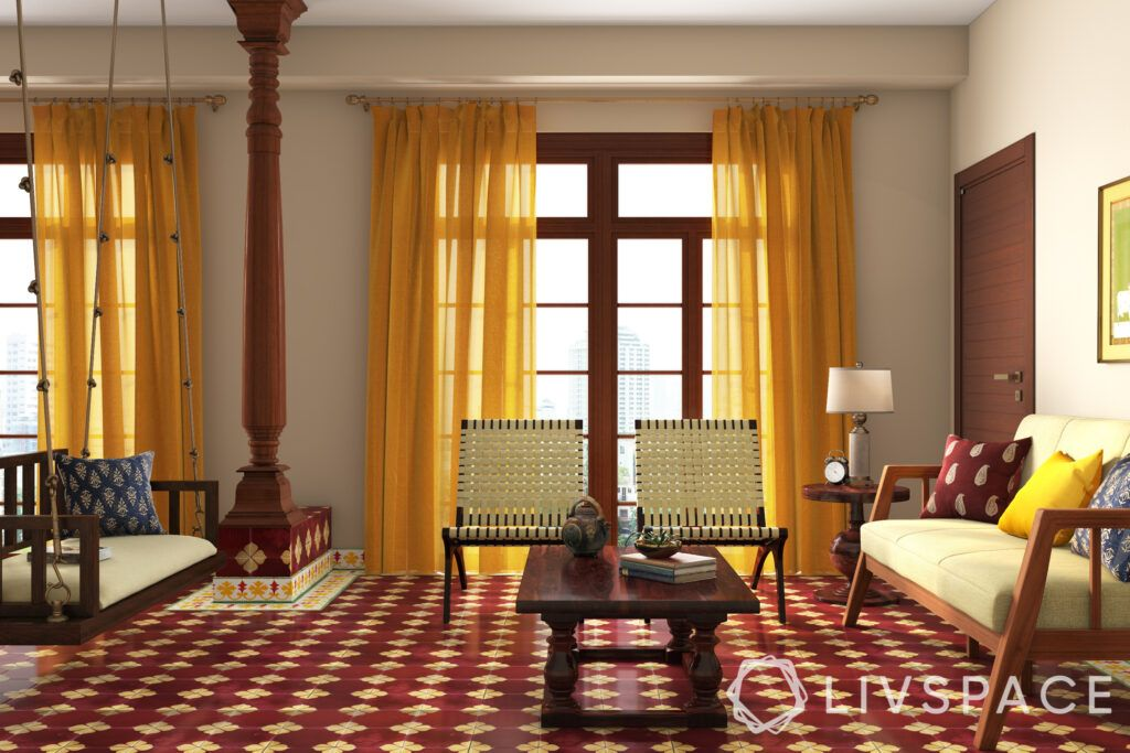 chettinad house-teak furniture-pillars-indoor swing-cane chairs