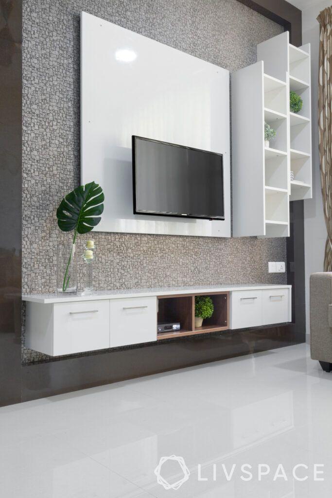 interiors-in-chennai-tv-unit-matte-finish-laminate-ladder-display-unit