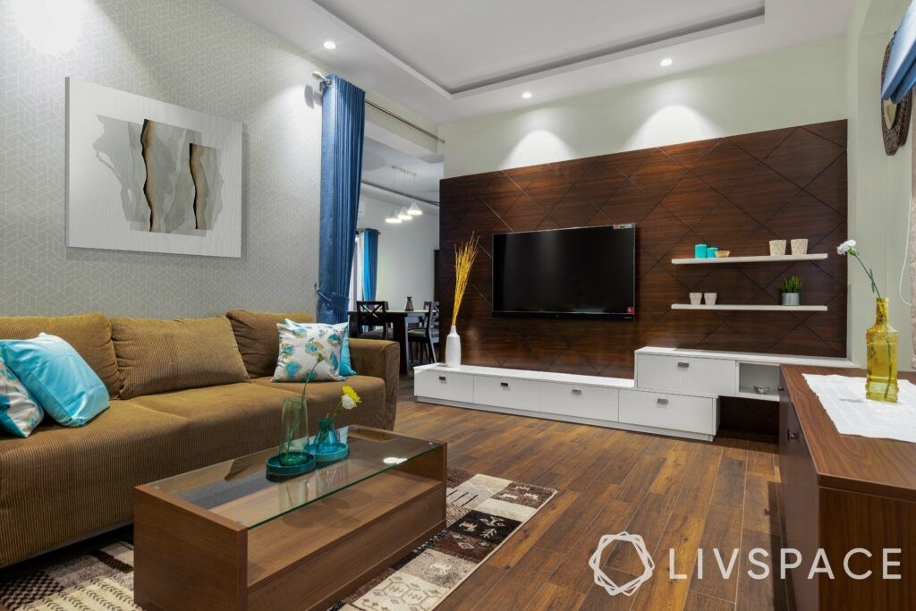 Wooden living room-veneer panel-laminate display shelves-vitrified flooring