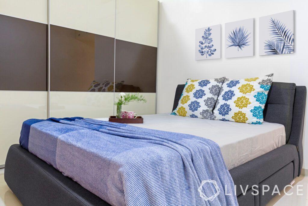 Interior design on a budget-bedroom-upholstered bed