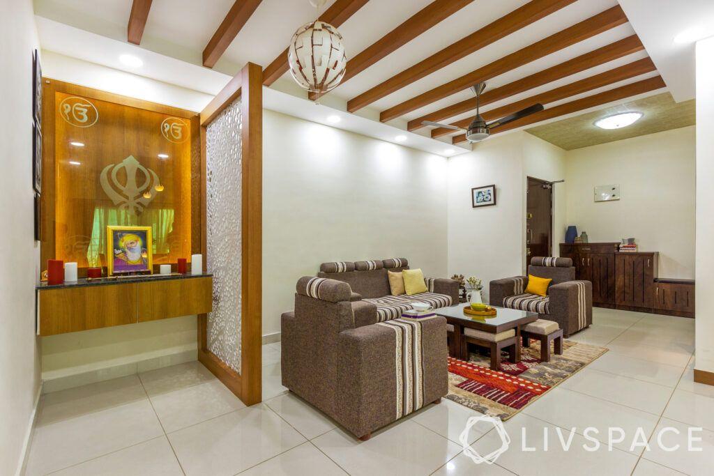 Pooja nook-jaali partition-living room