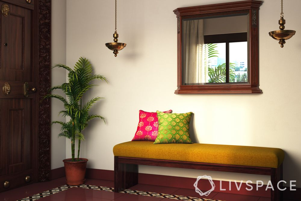chettinad house-brassware-plants-wallpaper-lamps