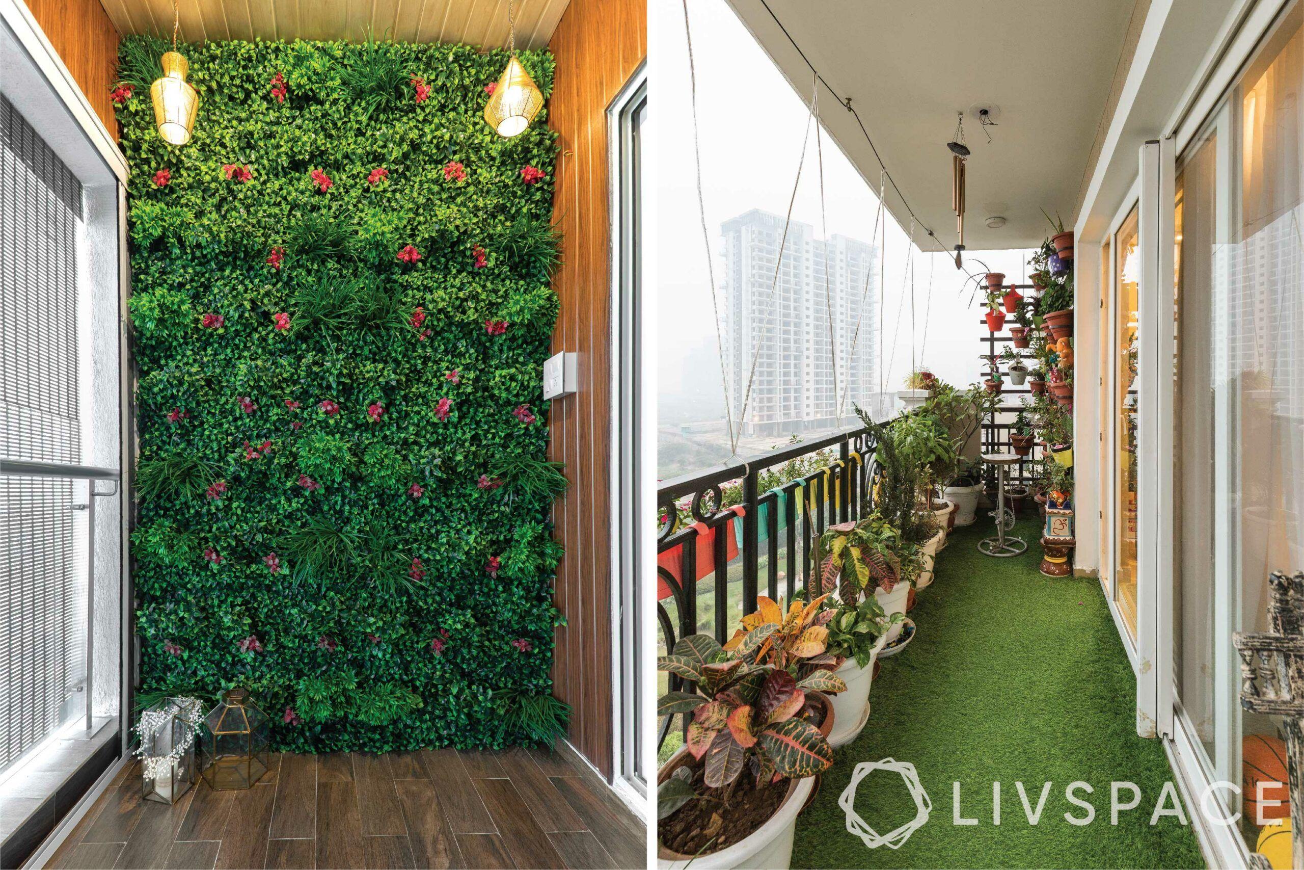 house balcony design-open-closed-planters-vertical garden