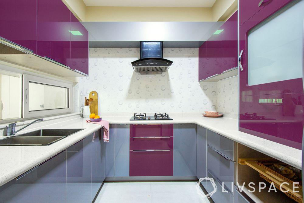 acrylic kitchen cabinets-dual tone kitchen