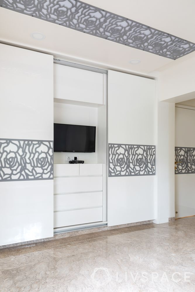 membrane finish-white cabinets-tv unit-pu finish-grey rose jaali