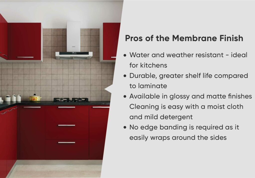 membrane finish-red cabinets-tiles backsplash-membrane finish