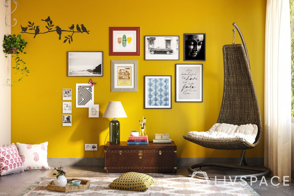 wake up sid-yellow wall-half moon swing chair-heirloom chest-artwork-floor mat-cushions