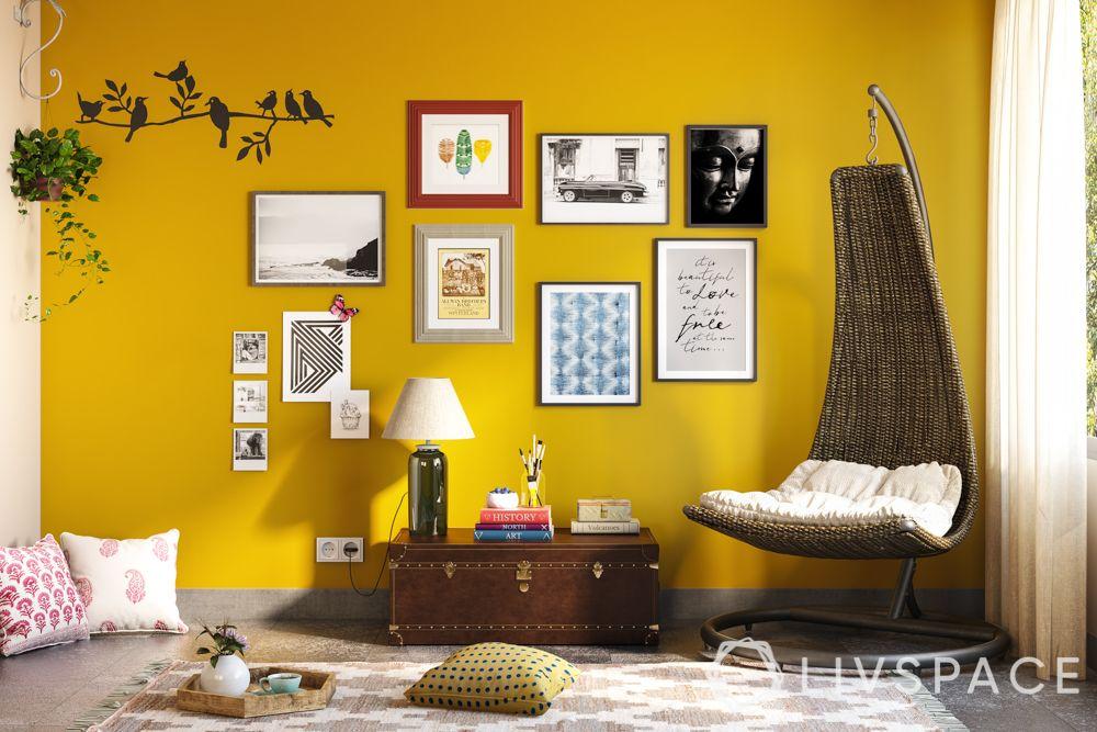 wake up sid-yellow wall-half moon swing chair-heirloom chest-artwork-floor mat-cushions